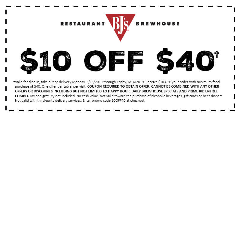 image regarding Bjs Printable Coupons identify $10 Off $40 Coupon BJs Dining places and Brewhouse