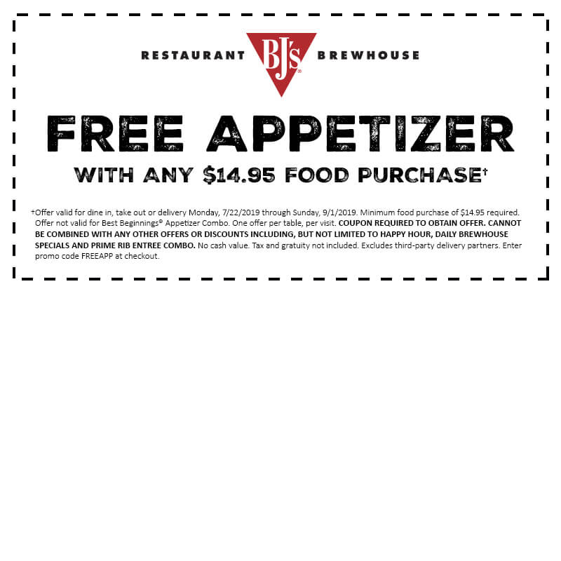 picture relating to Bjs One Day Pass Printable titled Free of charge Appetizer Coupon BJs Places to eat and Brewhouse